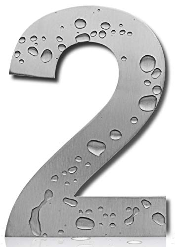 Royal H&H Large Modern House Numbers 6 Inch (Number 2 Two) Floating Home Address Numerals Sign Plaque Heavy Duty Mount for Home Hotel Office Brushed Nickel Solid Stainless Steel