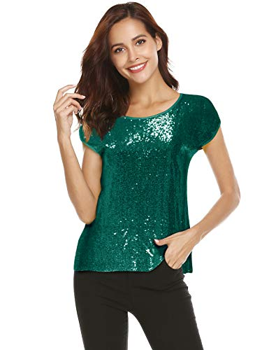 (Women Sequin Tops Glitter Shimmer Tunic Loose Bat Sleeve Sparkle T-Shirt Blouses Cocktail Party (Green, S))