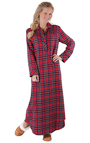 Flannel Plaid Gown - PajamaGram Women's Stewart Plaid Cotton Flannel Nightgown, Red, XLG (16)