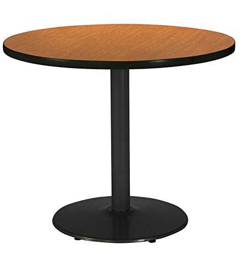 - KFI Seating Round Black Base Pedestal Table with Top, Medium Oak, 42