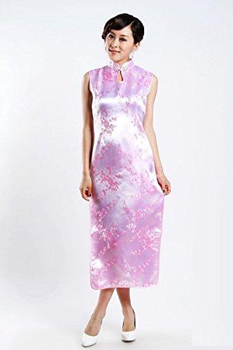 JTC Femme Calycanthe Robe Chinoise de soirée Longue Cheongsam Sans Manche Qipao en Brocart Rose