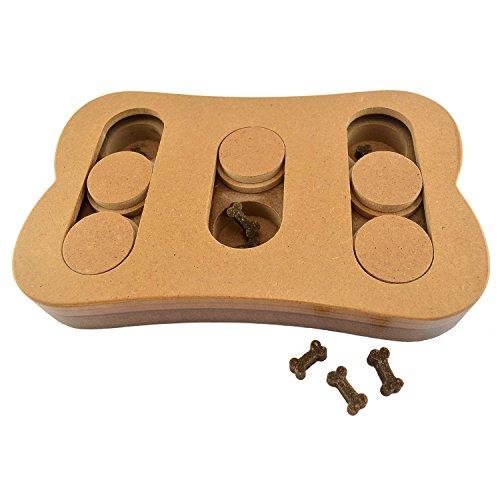 IQ Hundespielzeug - Spielbrett aus Holz Intelligenzspielzeug 22,7 x 14,5 x 3 cm