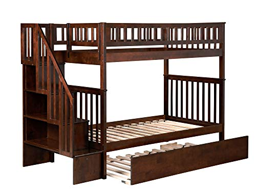 Woodland Staircase Bunk Bed with Urban Trundle, Antique Walnut, Twin Over Twin