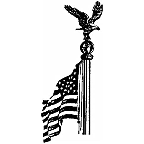 Medium Flag Pole Eagle W Rooftop Mounting Gold Bronze