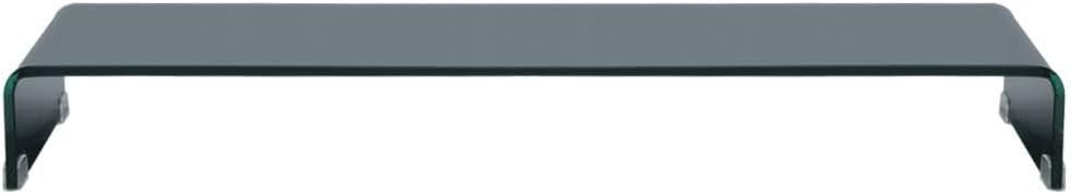 Tidyard Mesa para TV Mueble TV Sal/ón Soporte de TV Elevador de Monitor LCD Mesa Televisi/ón Mueble Comedor Televisor Bajo Vidrio Templado Cristal Claro 60x25x11cm