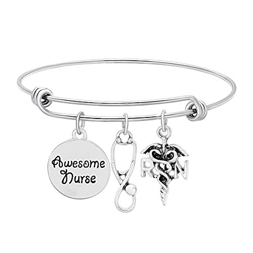 SENFAI Bracelet with 3 Charms RN Stethoscope Awesome Nurse Good Gift for Medical Student (Antique Silver)