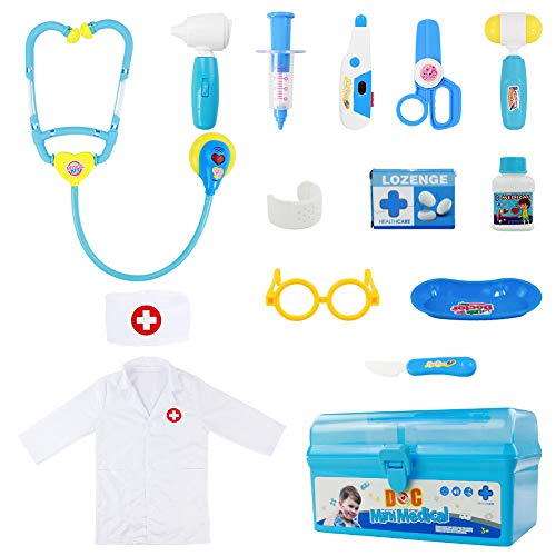 Fajiabao Doctor Kit for Kids with Stethoscope Medical Set Toys Doctor Coat Dress Up Costume Role Pretend Play for Toddlers Boys Girls 2 3 4 5 6 Years Old (14 PCS)