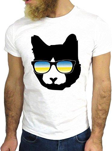 T SHIRT JODE Z3474 CAT ANIMAL SUNGLASSES RAINBOW COOL NICE CARTOON USA UK GGG24 BIANCA - WHITE L