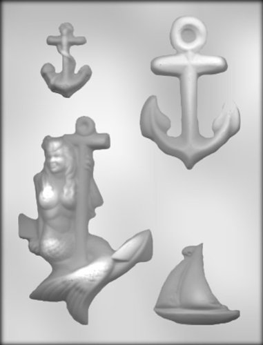 CK Products 5-5/8-Inch Mermaid with Anchors Chocolate Mold