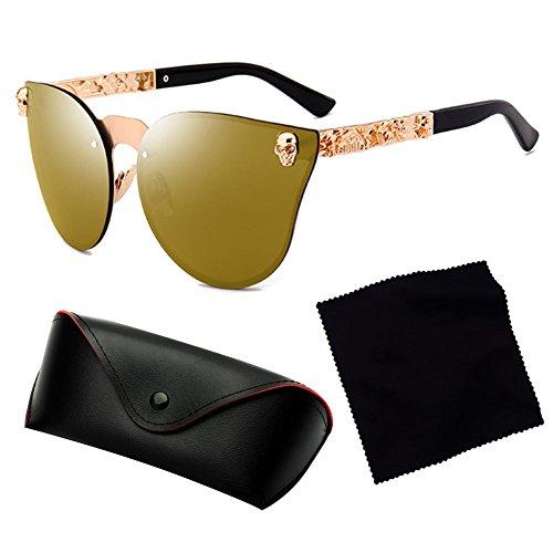 UV400 sol Gafas Frame Mujer Gothic Skull Temple de Sunglasses Metal C3 Hombre Highdas SqUpPwx