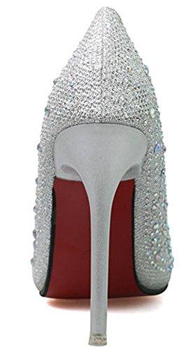 on Della Slip Stiletto Rhinestone Punta Sottolineato Dello Velardeeee Pompe Delle Sexy Tallone Ha Silver Taglio Da Donne Scarpe Sposa Basso nUx4aTOq