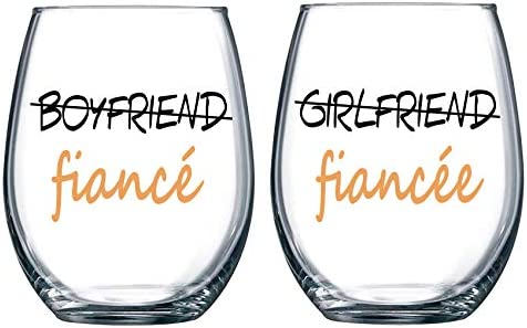 Fiance Fiancee Wine Glasses Couple Wine Glasses Boyfriend and Girlfriend Wine Glasses Gifts for Couple Engagement Wedding Bridal Shower Gifts for Bride Groom Valentine's Day Gifts 2 Pack 15 Ounces