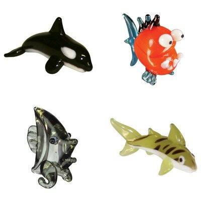 Miniature Orca, Piranha, AngelFish, TigerShark Figurine Set