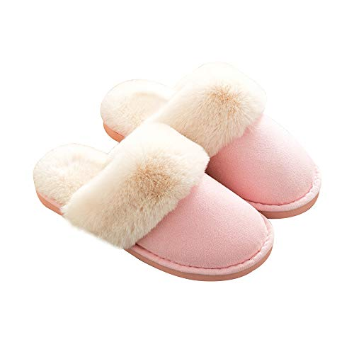 Slip Indoor Foam Fur Fluffy Memory Outdoor GaraTia Pink amp; Faux Unisex Lined Slippers On Home anqxzP4
