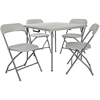 flash furniture 5 piece black folding card table and chair set kitchen dining. Black Bedroom Furniture Sets. Home Design Ideas