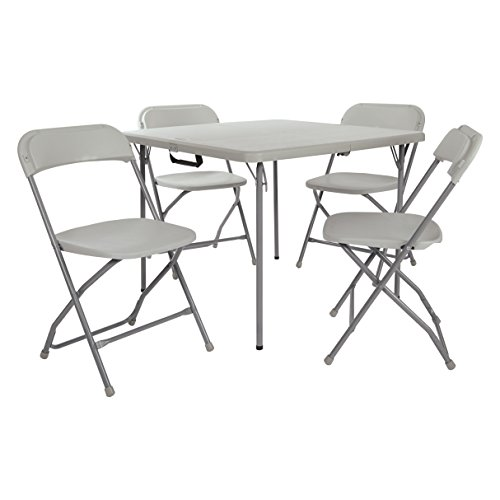 Living Room Set Folding Chair - Office Star Resin 5-Piece Folding Chair and Table Set, 4 Chairs and 3-Feet Square Table