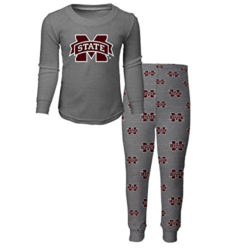NCAA by Outerstuff NCAA Mississippi State Bulldogs Toddler Long Sleeve Tee & Pant Sleep Set, Heather Grey, 3T