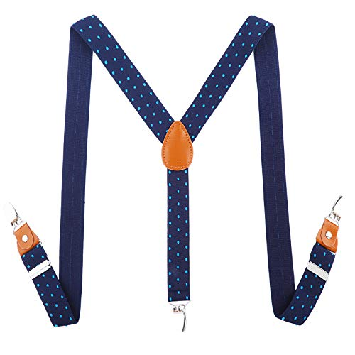 Toddlers Kids Boys Mens Suspenders - Y Back Adjustable Strong Clips Synthetic Leather Suspenders (Navy blue & blue wave point, 27.6-29.5 Inch (3 Years - 8 Years)) ()
