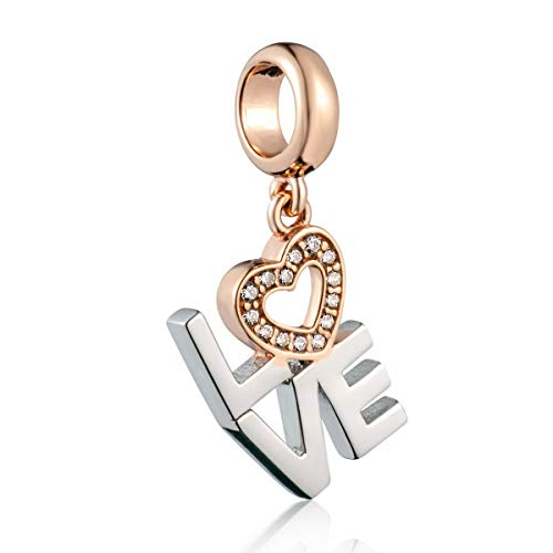 Gold Dangling Heart Bracelet - Love Bracelet Charms, 925 Sterling Silver Pendant, Rose Gold Heart Dangling Bead Plated Crystal Fit Pandora Charm Bracelets, Necklaces, and European Snake Chain, Anniversary /Valentine Gift Wife/Lover