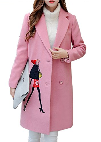 Zimaes Women Fleece All-match Autumn Winter Mid-Length Embroidered Peacoats Pink S