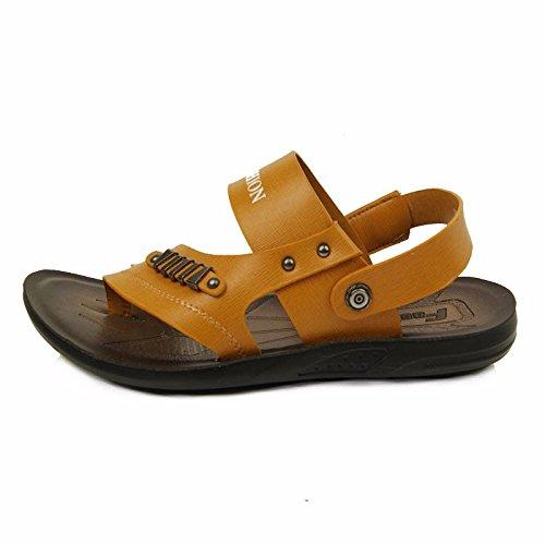 Uomini estate vera pelle sandali vera pelle Spiaggia scarpa all'aperto movimento Tempo libero sandali moda traspirante Uomini scarpa ,giallo,US=8.5,UK=8,EU=42,CN=43