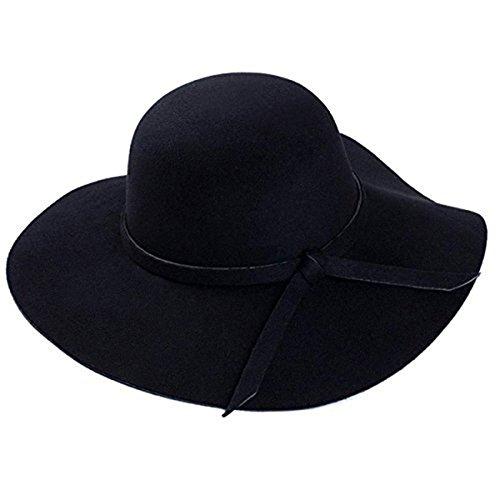 Gogolan Women Vintage Wide Brim Floppy Fashion Felt Hat Trilby Bowler (Black) (Hat Black Bowler Felt)