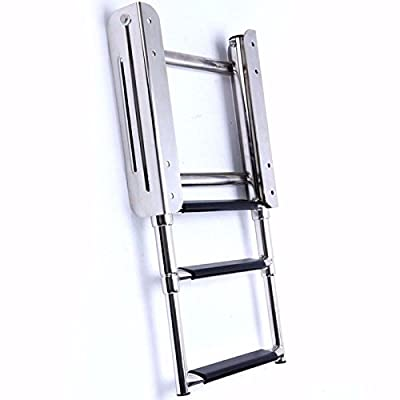Prairie Metal 3 Step Stainless Steel Telescoping Ladder for Marine Boat Under Platform Ladder