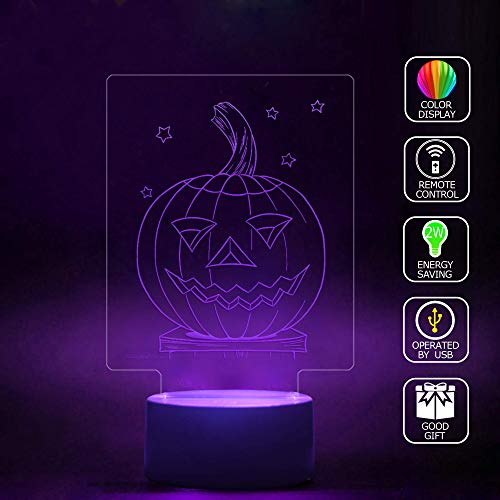 3D Illusion LED Projector Lamp Handmade,Halloween Coloring Pages Light Projecting Color-Changing USB Cable Smart Touch Button LED Multi 7 Color Change Desk Table Light Kids Gift -