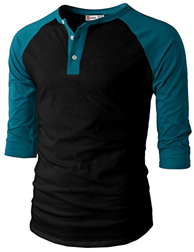 - H2H Mens Casual Slim Fit Raglan 3/4 Sleeve Henley T-Shirts BLACKPEACOCK US XL/Asia 2XL (CMTTS0174)