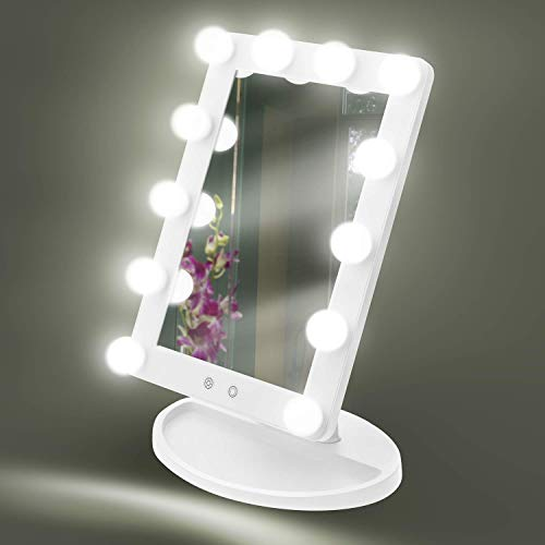 House of Living Art Makeup Mirror Hollywood Style Vanity Mirror, 12 Large LED Light Bulbs with 3 Light Settings, Dimmable Lighting, Power Adapter White