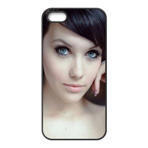 Blue Eyed Girl Glance 86385 coque iPhone 5 5S cellulaire cas coque de téléphone cas téléphone cellulaire noir couvercle EOKXLLNCD22322