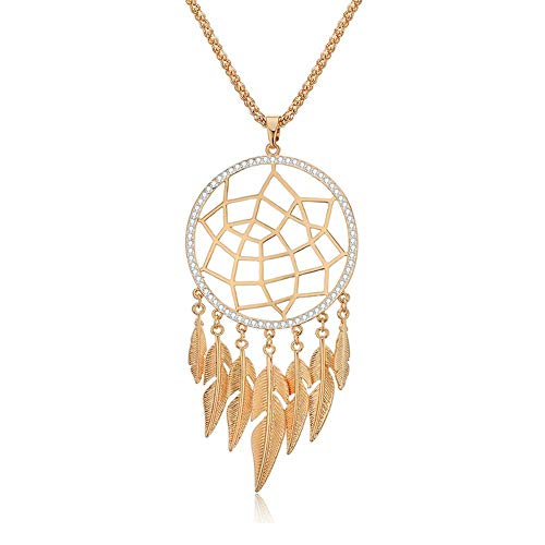 PJ Boho Feather Pendant Necklace for Women Girls, Long Chain Tassels Crystal Charm Pendant, Bohemia Dreamcatcher Hollow Flower Necklaces, Ethnic Jewelry