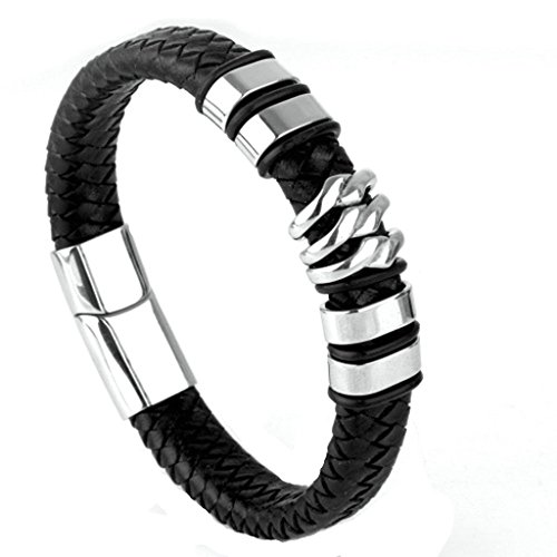 Epinki Stainless Steel Men Leather Bracelet Simple Magnetic Clasp Real Leather Silver