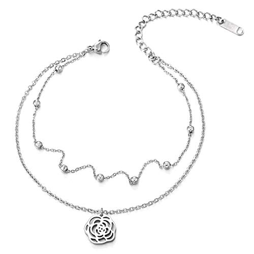 COOLSTEELANDBEYOND Two-Row Link Chain Anklet Bracelet with Beads and Dangling Rose Flower Charm, ()
