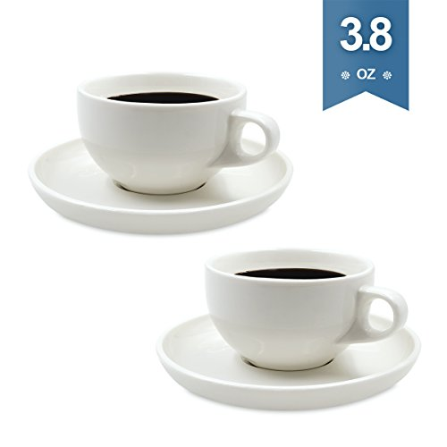 110 Ml Cup (DRAWIGER Porcelain Espresso Cups and Saucers Set Stylish Mug Lead-Free Non-toxic for Coffee and Tea (Set of 2, White, 3.8oz/110ml, Round))