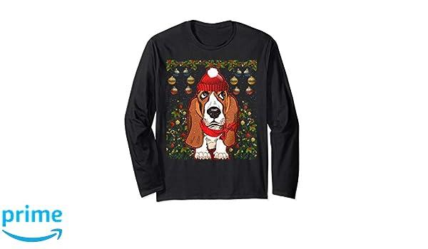 Amazoncom Basset Hound Dog Christmas Sweater Clothing