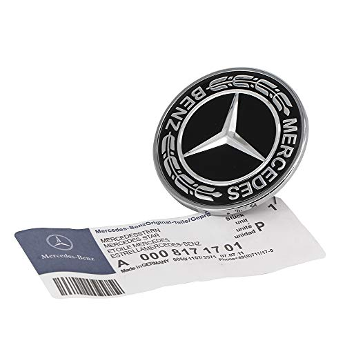 Emblem Mercedes Hood Badge - Cardiytools Metal Flat Hood Star Emblem Badge for Mercedes Benz C E SL Class Ornament logo (Black)