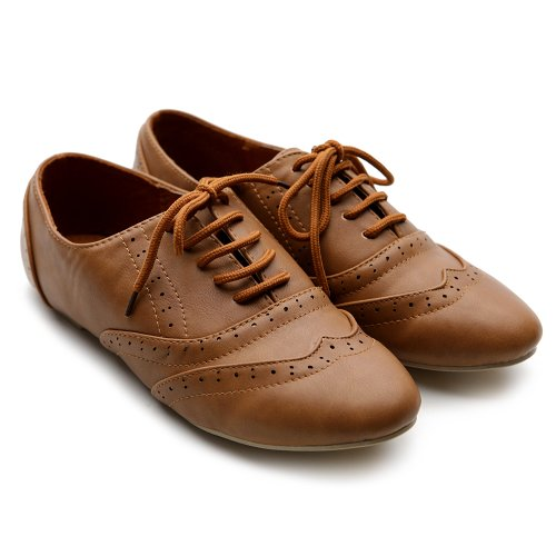 Ollio Women Shoes Classic Lace up Dress Low Flat Heels Oxford M1914(9 B(M) US, Brown) by Ollio (Image #2)