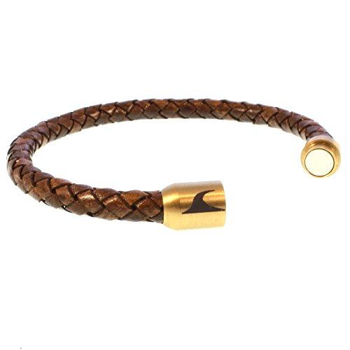 43a35306bcc2 wavepirate® Piel de pulsera Sylt g color marrón oro hombre Durable Modelando