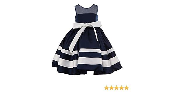 1d25543d7bb Amazon.com  princhar Ivory Navy Blue Stripe Flower Girl Dress Junior Toddler  Kids Dress  Clothing