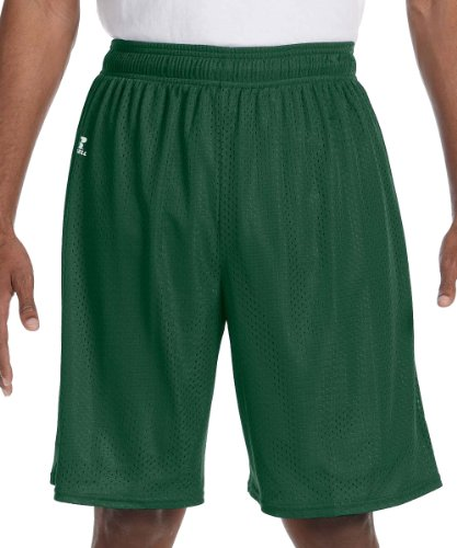 Russell Athletic Men's Mesh Shorts (No Pockets), Dark Green, Large (Green Mesh Shorts)