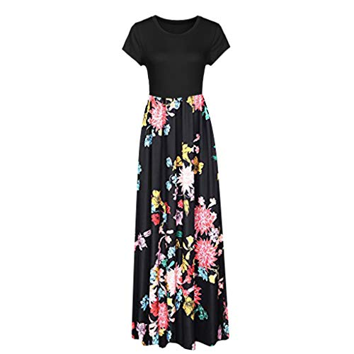 HunYUN Women's Short Sleeve Racerback Loose Floral Print Tank Long Maxi Summer Slim fit Dresses