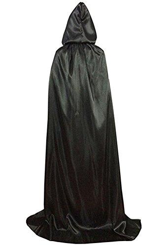 Wonderoy Unisex Full Length Halloween Costumes Hooded Cape Cloak Cosplay XL Black Silk