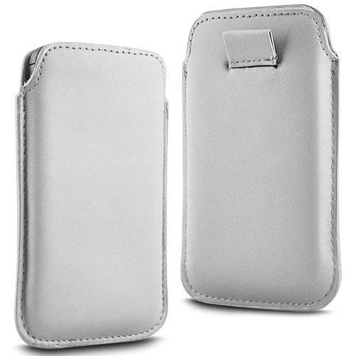 N4U Online - Apple Iphone 4S premium PU souple Pull en cuir flip Tab Housse Etui - Blanc