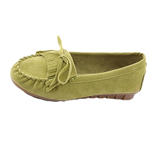 Clode® Women's Suede Leather Driving Moccasins Slip-On Penny Loafers Flats Boat Shoes Green