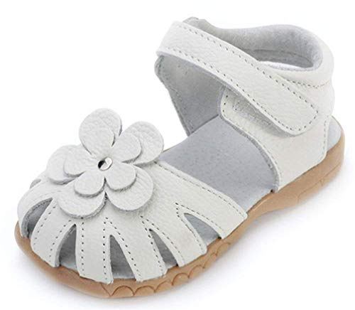 Girls Genuine Leather Outdoor Summer Flower Sandals Soft Closed Toe Princess Flat Shoes for Toddler/Little Kid White