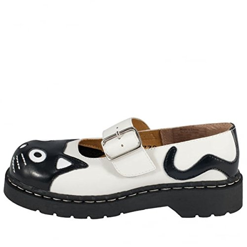 Shoes T Women's Kitty Mary k Jane Anarchic White Noir u Leather gEEqUF