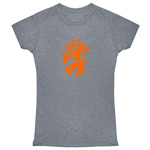 (Holland Soccer Dutch Lion National Team Crest Heather Charcoal M Womens Tee Shirt)