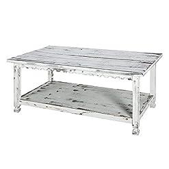 Farmhouse Coffee Tables Rustic Rectangluar Coffee Table with 1 Shelf, White Antique farmhouse coffee tables