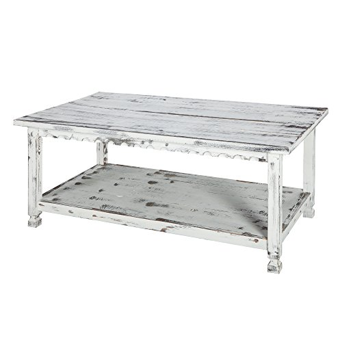 Rustic Rectangluar Coffee Table with 1 Shelf, White ()